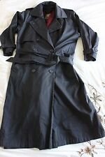 Vintage Anne Klein Womens Trench Coat Sz 8 Belted Jacket Black Removable Liner