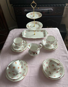 Vintage Diamond China Tea Set & 3 Tier Cake Stand Pink Roses
