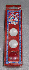Peachtree Playthings 80 Poker Chips White Red Blue Interlocking Stacking Tokens