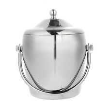 Double Walled Stainless Steel Hammered Insulated Ice Bucket With Tongs 1.4 Ltr