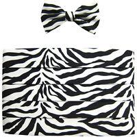New Vesuvio Napoli 100% poly Cummerbund_bowtie zebra print black white formal