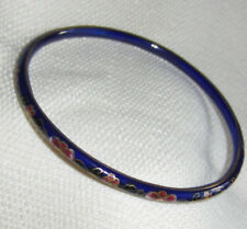 Vintage Thin Chinese Cloisonne Royal Blue Bangle Bracelet Enamel Flowers Floral