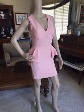 AGACI Stretch Vintage Look Peplum Dress Glitter Barbie Doll Pink sz M S NWT