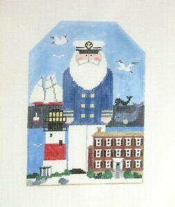 Kathy Schenkel Nantucket Santa Handpainted Needlepoint Canvas