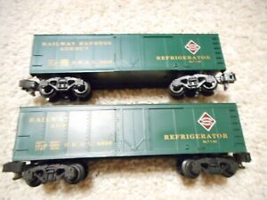 S SCALE AMERICAN FLYER/LIONEL #8806 RAILWAY EXPRESS AGENCY REFRIGERATOR CARS
