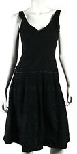PIAZZA SEMPIONE Black & Navy Blue Boucle Tweed Fit & Flare Dress 42