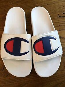 Champion Men's White Logo Slides. Size 11 Bin 440
