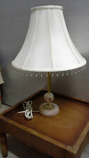 Vintage Gilt and Marble Lamp with decorative White Linen Shade