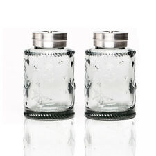 Solid Color Glass Salt and Pepper Shakers Set With Stainless lid. Smoke Gray