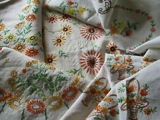 Vintage Bundle of 5 Lovely Hand Embroidered Linen Tablecloths-PRETTY FLORAL'S