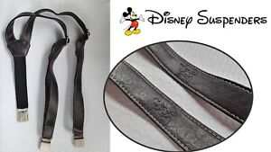 Mickey Mouse Y Suspender's - Brown Faux Leather - Vintage Disney WDW
