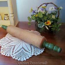 "17"" VINTAGE GREEN WOOD ROLLING PIN Perfect for Cookie Maker Baker in Your Home!"