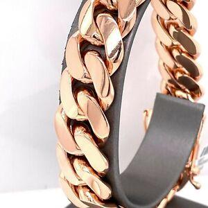 "14k Rose Gold Men's Miami Cuban Link Chain Bracelet, 152gm, 15.5mm, 9"", S105871"