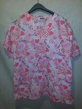 Jasco Uniform Women's Small Scrub Top Hearts Girl Lover Sweet Kiss EUC