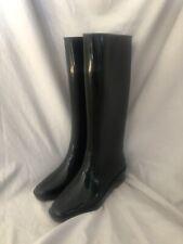 Fendi Black Rain Boots Wedge Heel