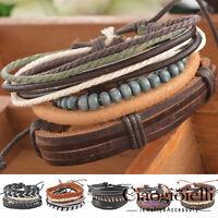 1Set Hot Braided Adjustable Leather Bracelet Punk Jewelry Cuff Women/Men`s PS