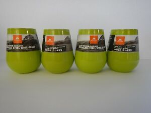 Ozark Trail 14 Oz Insulated Stainless Steel Stemless Wine Glass Green Set of 4