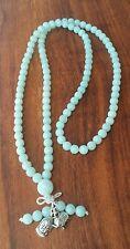 Elephant Buddha 108 Mala Beads ♡Meditation Bali Pendant PURE AMAZONITE Gemstone