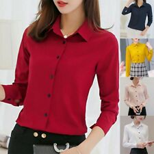 Women Botton Blouse Chiffon Career Solid Office Work Long Sleeve Shirts Tops ME
