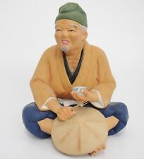 """Vintage Hakata Doll Clay Figurine Man w Tea Cup and Straw in Hand Hat Maker 7.5"""""""