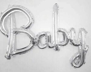 Baby Silver Script Foil Balloon Boy Girl baby shower gender reveal Air fill