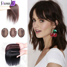 Topper Hairpiece Clip in 100% Remy Human Hair Straight Silk Base Top Toupee