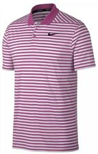 Men's Nike Dry Victory XL Striped Pink White Golf Polo Shirt Dri-Fit Tiger Woods