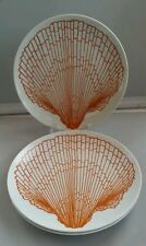 "3 Fitz and Floyd FF Ocean Beach Sea Shell 7.5"" Plates White w/ Orange Shell"