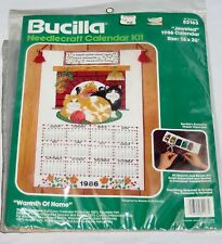 1986 Cat Bucilla Calendar Kit Unopened & 1986 Partailly Completed Chicken Calend