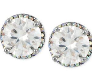 $25 Betsey Johnson Crystal Rhodium  Stud Medium Earrings Crystal Stud #701