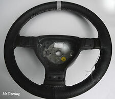REAL PERFORATED LEATHER + GREY STRIPE STEERING WHEEL COVER FOR VAUXHALL ZAFIRA B