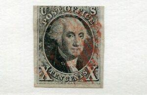 1847 U.S. Scott #2 Ten Cent Washington Stamp Used - Red Cancel - Three Margins