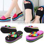 Women Summer Casual Wedge Platform Thong Flip Flops Sandals Shoes Beach Slippers