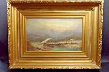 Antique European Landscape Painting With Beautiful Gold Frame