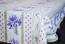 """LE CLUNY, LAVENDER CREAM, FRENCH PROVENCE COATED COTTON TABLECLOTH, 60"""" X 120"""""""