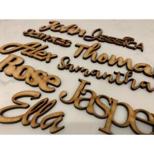 Personalised Wooden Name Sign Plaque Script Door 9 FONTS | 2-20cm / 1-9 Letters