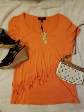 Nwt! Melissa Paige Women's Top, size L  orange,,  polyester, spandex, frilly