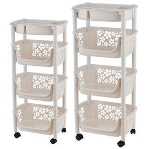 4 Tier Kitchen Trolley Storage Rack Vegetable Fruit Portable Cart Tidy Organiser