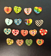 10 SMALL WOODEN HEART BUTTON VALENTINES CARD MAKING SEWING CRAFT EMBELLISHMENTS