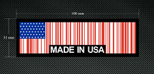 2 x MADE IN USA BAR CODE Stickers/Decals with a Black Background - EURO - DUB