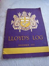 EX RARE~LLoyd's of London~LLOYD's LOG Booklet Dec 1952~Queen lays stone Lime St.