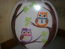 HAND PAINTED OWLS SITTING IN A TREE. USA SEALED WHITE STANDARD  TOILET SEAT
