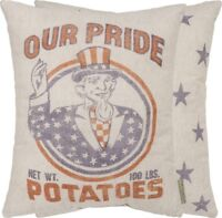 "Primitives by Kathy "" OUR PRIDE POTATOES "" Pillow Farmhouse Uncle Sam Pillow"