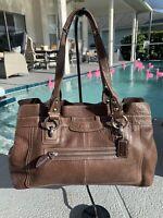 COACH PENELOPE Brown Pebbled Leather Shoulder Tote Shopper Purse Bag 20902