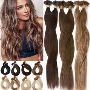 Fusion Nail U Tip Keratin Remy Human Hair Extensions Pre Bonded 1G/S Balayage L4