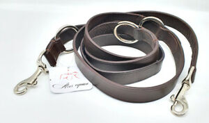 """BROWN LEATHER POLICE DOG TRAINING LEAD WITH CHROME COATED BRASS FITTING 1"""" WIDE"""