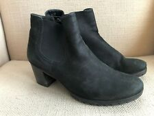 Gabor Black Nubuck Leather Booties Ankle Boots UK 5 US 7