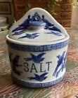 Blue Birds Wall/Counter Salt Box British (?) NEW! NEVER USED! HEAVY!