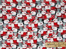 Frosty Folks Multi Snowmen Christmas FLANNEL Fabric  by the 1/2 Yard  # F6740