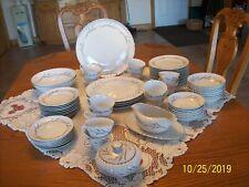 Harmony House Porcelain China Cynthia Pattern 3852 61 Pieces Swirl Wheat Design